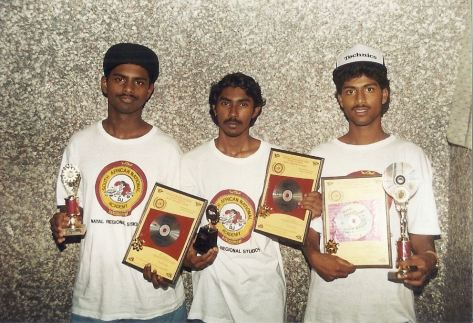 Winners (from Left) Babs Pillay (1st prize-mix), Robbie Padayachee (2nd - Mix) and Kevin Naidoo (winner of The Groove).